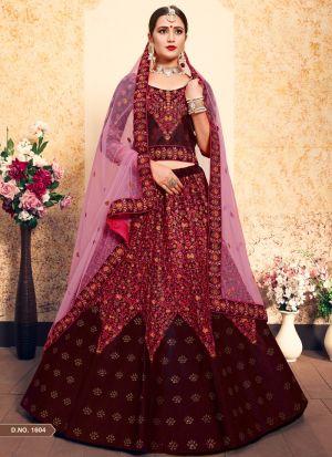 Maroon Satin Designer Lehenga Choli For Sangeet