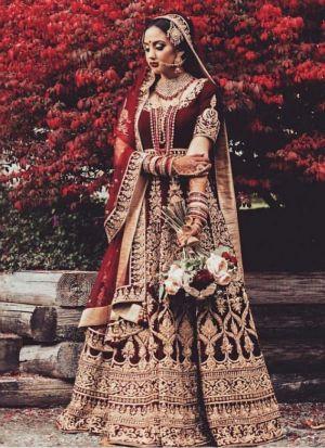 Maroon Velvet Bridal Wear Lehenga Choli