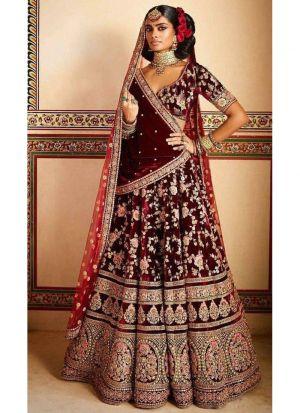Maroon Velvet Silk Bridal Lehenga Choli With Velvet Silk Dupatta