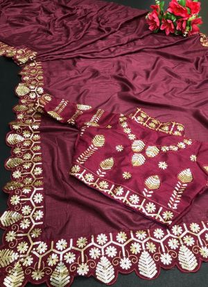Maroon Vichitra Silk Sequence Saree