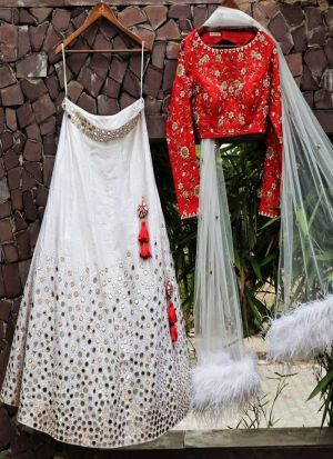 Marvellous Thread WorkWork White Taffeta Silk Lehenga Choli