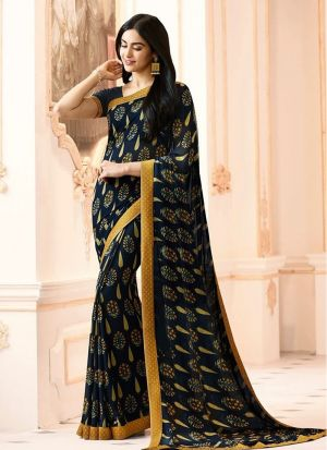 Mesmerising Black Georgette Casual Printed Saree