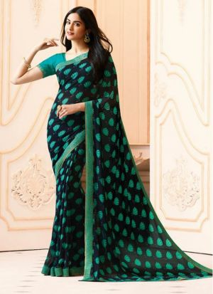 Mesmerising Navy Georgette Casual Printed Saree