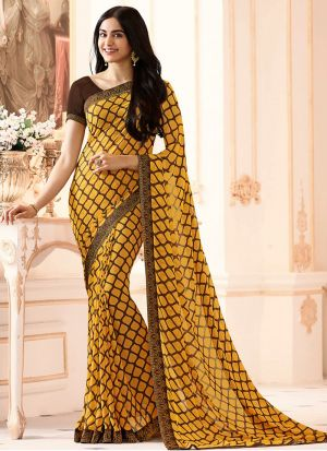 Mesmerising Yellow Georgette Casual Printed Saree