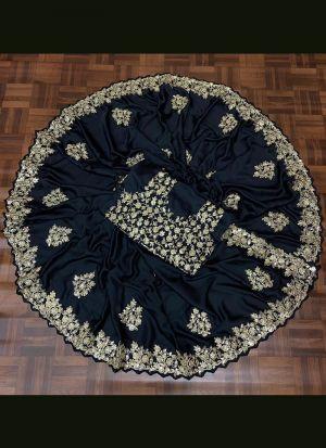 Midnight Blue Mushroom Silk Saree