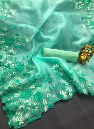 Mint Green Organza Silk Saree