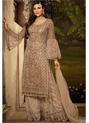 Mocha Brown Heavy Net Indian Designer Salwar Suit