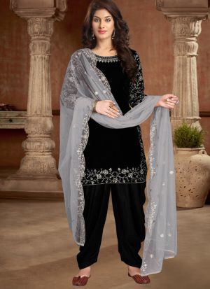 Modern Stylish Black Embroidered Salwar Suit