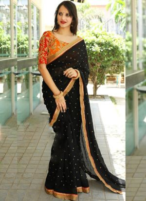 Most Demanded Black Georgette Saree With Contrasting Blouse