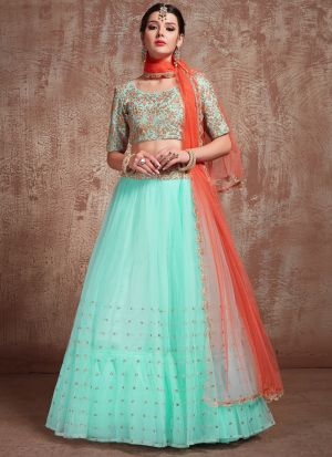 Most Demanded Blue Designer Lehenga Choli In Soft Net Fabric