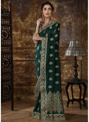 Most Demanded Dark Green Designer Saree In Silk Fabric