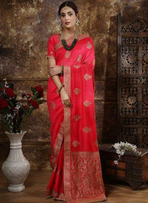 Most Demanded Dark Pink Designer Saree In Silk Fabric