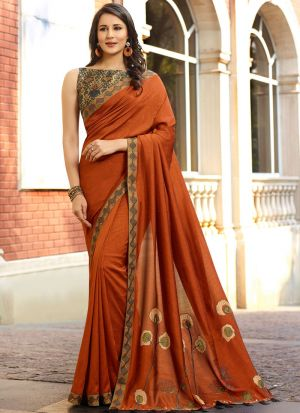 Most Demanded Ginger Rangoli Silk Saree With Contrasting Blouse