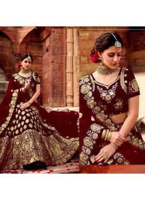 Most Demanded Maroon Bridal Velvet Embroidered Lehenga Choli With Mono Net Dupatta
