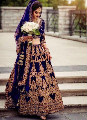 Most Demanded Navy Bridal Pure Velvet Embroidered Lehenga Choli With Mono Net Dupatta