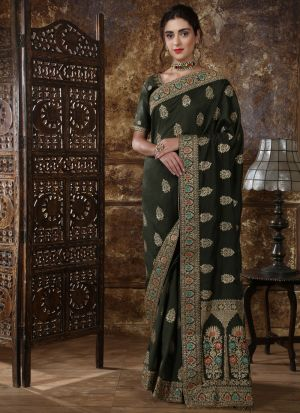 Most Demanded Olive Green Designer Saree In Silk Fabric