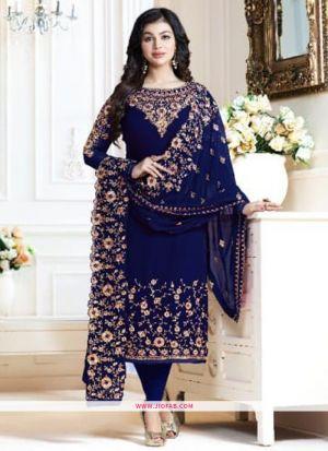 Most Demanding Navy Embroidered Georgette Designer Salwar Suit