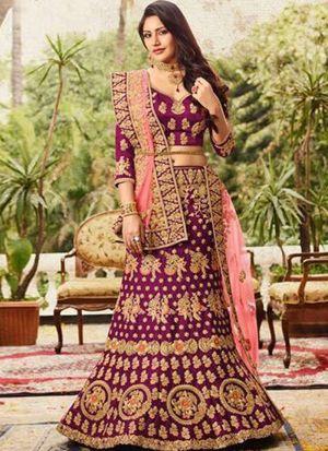 Most Demanding Purple Naylon Net Wedding Lehenga Choli