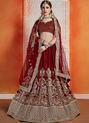 Most Popular Designs Of Maroon Bridal Lehenga Choli With Soft Net Dupatta