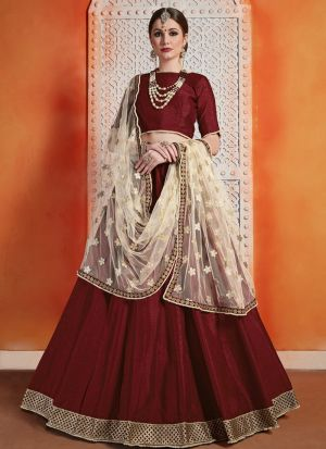 Most Popular Designs Of Maroon Designer Lehenga Choli With Soft Net Dupatta