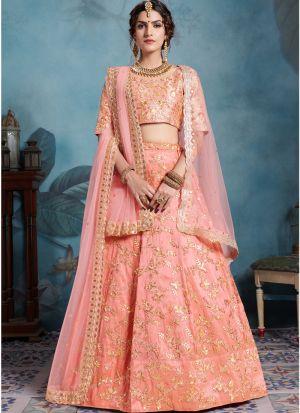 Most Popular Designs Of Peach Designer Lehenga Choli With Soft Net Dupatta