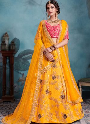 Most Popular Designs Of Yellow Color Designer Lehenga Choli With Soft Net Dupatta