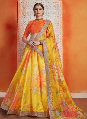 Most Popular Designs Of Yellow Designer Lehenga Choli With Organza Dupatta