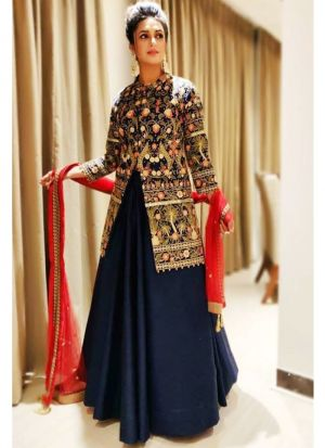 Most Popular Navy Plain Indian Lehenga Choli With Net Dupatta