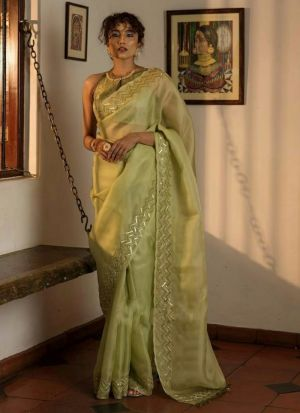 Most Trendy Olive Organza Party Wear Saree