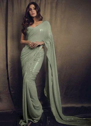 Mouni Roy Grey Georgette Saree