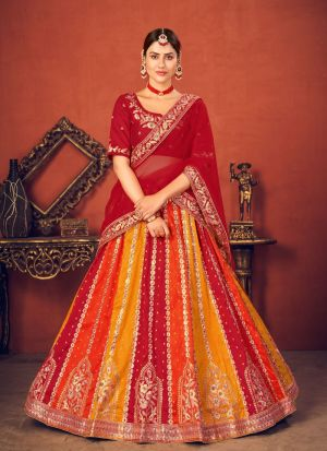 Multi Color Art Silk Embroidery Lehenga Choli