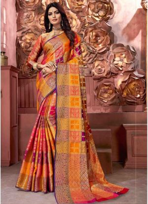 Multi Color Banarasi Pure Silk Festive Traditional Saree