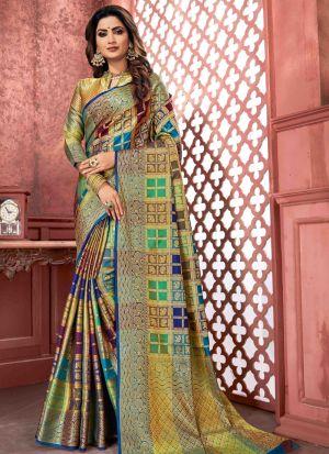 Multi Color Banarasi Pure Silk Traditional Saree For Wedding