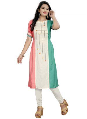 Multi Color Cotton Plain Stylish Pleet Kurti Pattern