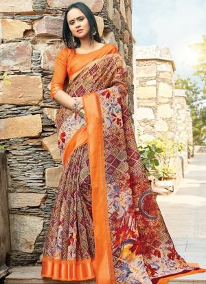 Multi Color Cotton South Indian Wedding Saree
