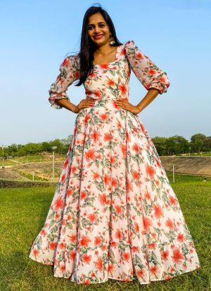Multi Color Georgette Printed Gown