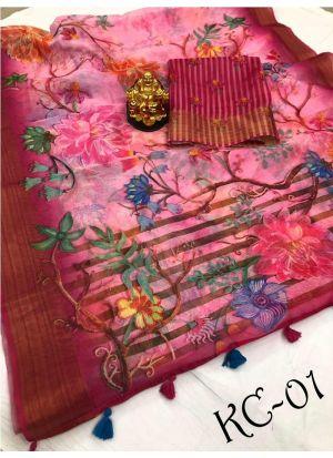 Multi Color Kanjivaram Linen Saree