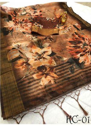 Multi Color Linen Festive Wear Saree