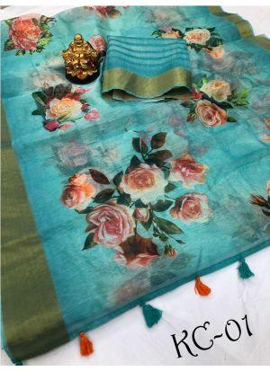 Multi Color Linen Saree For Hariyali Teej