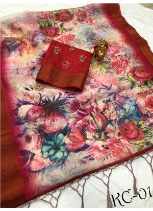 Multi Color Linen Traditional Saree