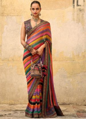 Multi Color New Launching Chinon Silk Bollywood Celebrity Saree