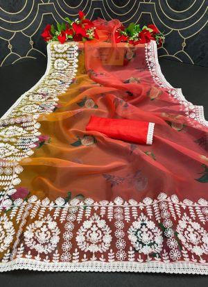 Multi Color Organza Silk Shaded Saree