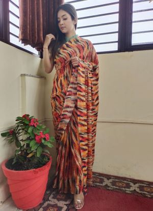 Multi Color Printed Silk Saree