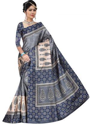 Multi Color Rice Silk Printed Indian Saree