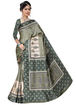Multi Color Rice Silk Printed Indian Traditional Saree