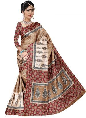 Multi Color Rice Silk Printed Saree For Women