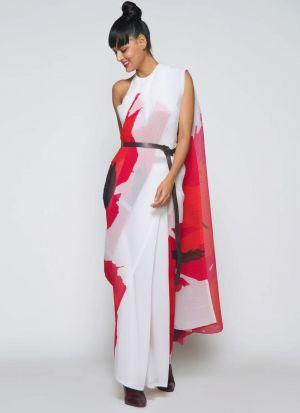 Multi Color Silk Blend Printed Saree
