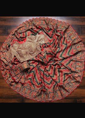 Multi Color Soft Silk Embroidery Saree