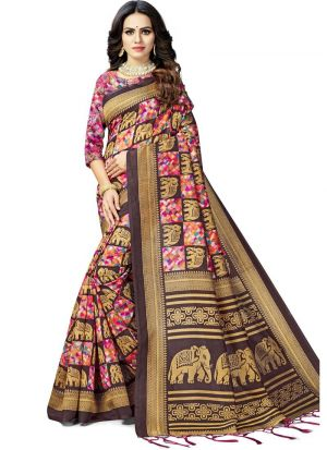 Multi Color South Indian Art Silk Designer Saree