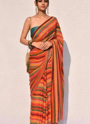Multi Color Sparkle Silk Printed Saree